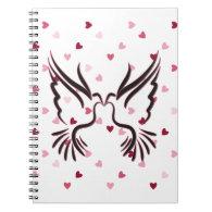 Love Bird in Black With Love Pattern Spiral Note Book