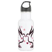 Love Bird in Black With Love Pattern Water Bottle