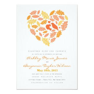 Love Bird Leaf and Heart Wedding Invitation