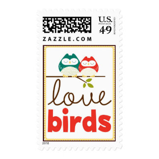 Love bird owl couple postage stamps