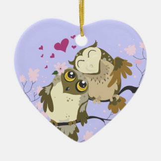Love Bird Owls~ornament Double-Sided Heart Ceramic Christmas Ornament