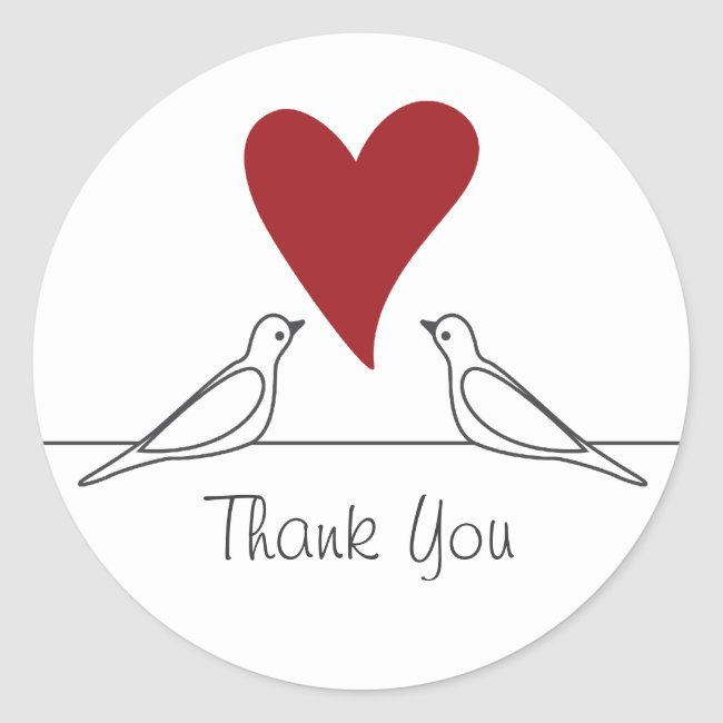 Love Bird Red Heart Simple Modern Thank You