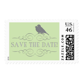 Love Bird Save the Date Postage in Green