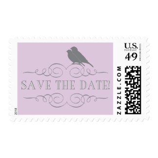 Love Bird Save the Date Postage in Purple