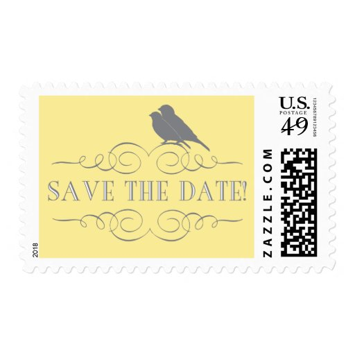 Love Bird Save the Date Postage in Yellow