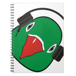 Love bird with headphone spiral notebook