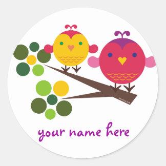 love birdies classic round sticker