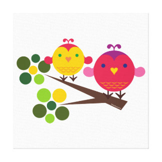Love Birdies Stretched Canvas print Wall Art