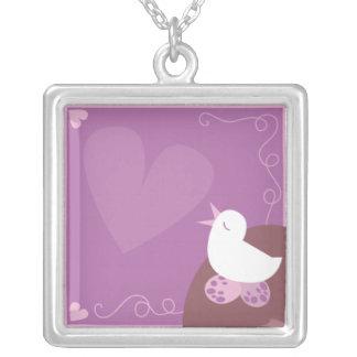 Love Birding singing love heart purple Necklace