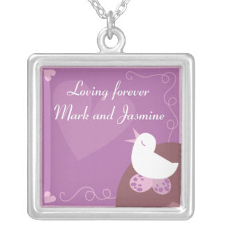 Love Birding singing love heart purple personalise Silver Plated Necklace