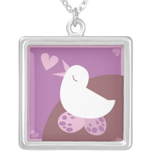 Love Birding singing love heart purple Silver Plated Necklace