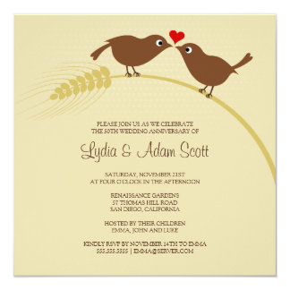 Love Birds 25th Silver Anniversary Party Invitation