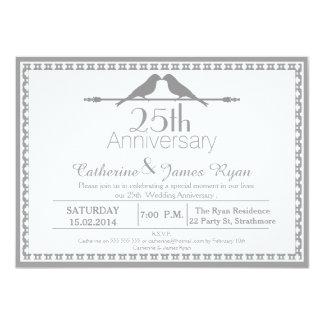 Love Birds 25th Wedding Anniversary Invitation