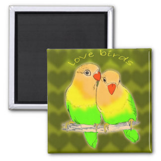 love birds 2 inch square magnet
