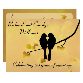 Love Birds 50th Anniversary Invitation