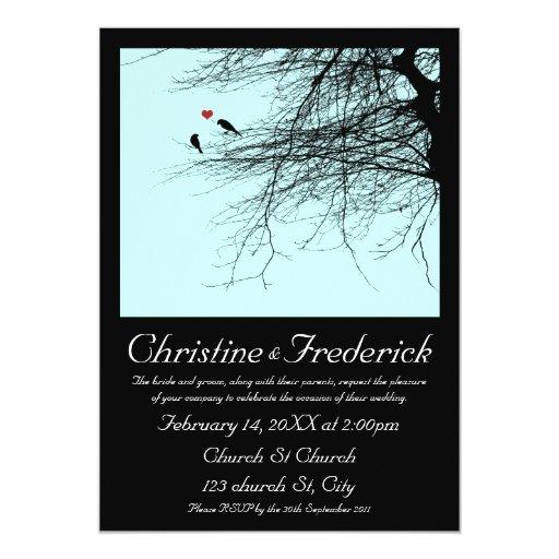 "Love Birds, 5""x7"" invitation"