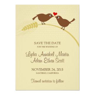 "Love Birds 6.5"" x 8.75"" Wedding Save The Date Card"