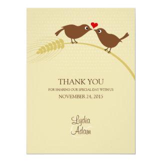 """Love Birds 6.5"""" x 8.75"""" Wedding Thank You Card"""