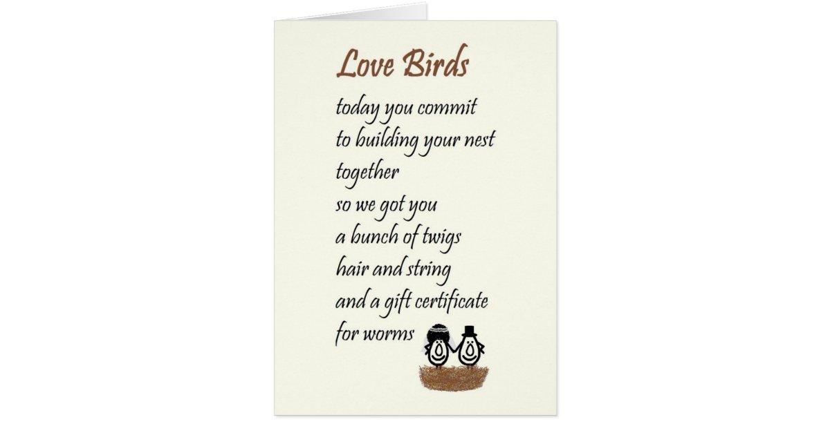 Love Birds - a funny wedding poem Card | Zazzle.com