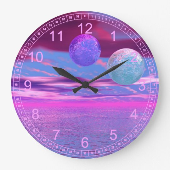 Love Birds - Abstract Magenta & Violet Passion Large Clock