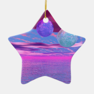 Love Birds - Abstract Pink and Purple Passion Ceramic Ornament