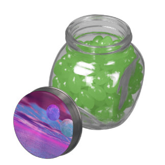 Love Birds, Abstract Pink and Purple Passion Jelly Belly Candy Jar