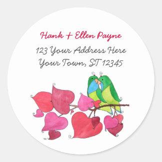 Love Birds Address Labels Classic Round Sticker