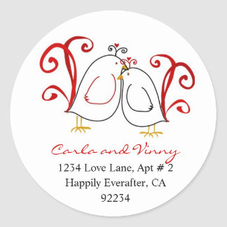 Love Birds and Blossoms Address Labels Classic Round Sticker