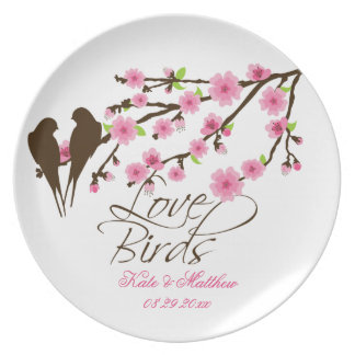 Love Birds and Cherry Blossoms Personalized Plates