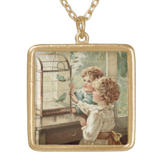 Love Birds and Children Vintage Inspired Gold Plated Necklace
