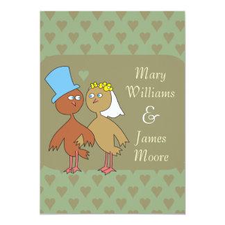 Love Birds and Hearts Wedding Invitations