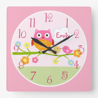 Love Birds and Owl on Branch Kid's Baby Clock