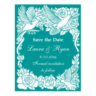 Love Birds and Roses Save the Date Post Cards