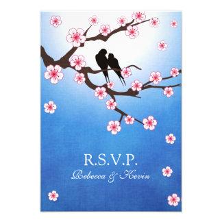 Love birds and Sakura - Blue Background RSVP Invitations