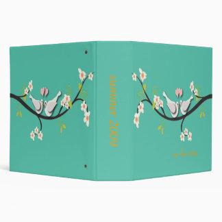 Love birds apple blossoms branch 3 ring binder