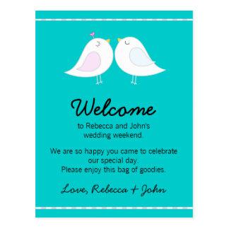 Love Birds Aqua Wedding Welcome Card