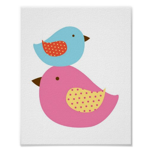 Love Birds Baby Bird Nursery Wall Print