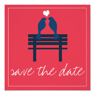 Love Birds & Bench Red Save the Dates Card