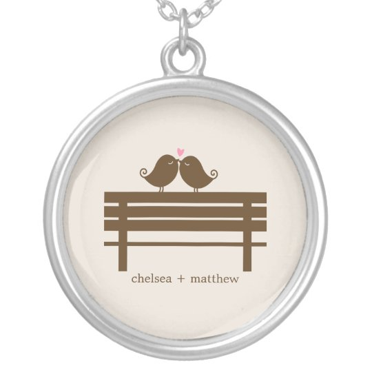 Love Birds Bench Silver Plated Necklace