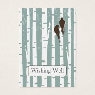Love Birds Birch Tree Winter Wedding Business Card