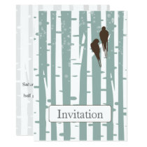 Love Birds Birch Tree Winter Wedding Card