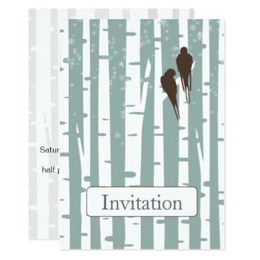 Love Birds Birch Tree Winter Wedding Card