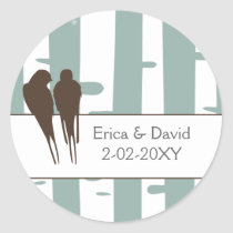 Love Birds Birch Tree Winter Wedding Classic Round Sticker