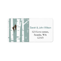 Love Birds Birch Tree Winter Wedding Label