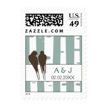 Love Birds Birch Tree Winter Wedding Postage