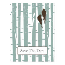 Love Birds Birch Tree Winter Wedding Postcard