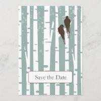 Love Birds Birch Tree Winter Wedding Save The Date