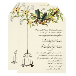 Love Birds Birdcage Yellow & Teal Blooming Tree Card
