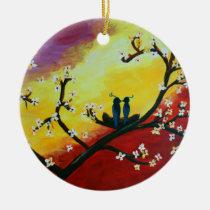 Love Birds Blossom Tree Art   Ornament