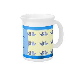 Love Birds (Blue) Drink Pitcher